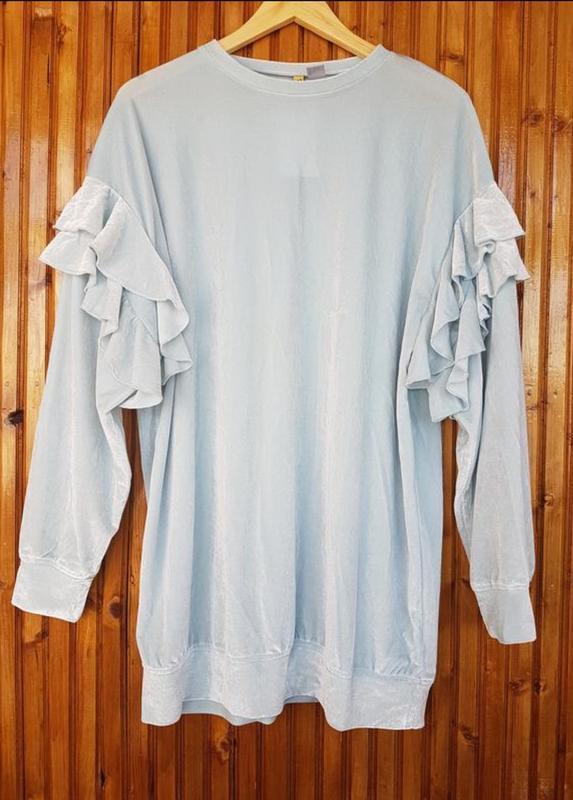 Длинная кофта, свитер из велюра от h&m с оборками - Фото 3