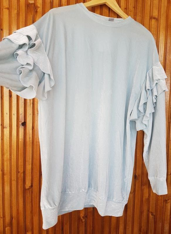 Длинная кофта, свитер из велюра от h&m с оборками - Фото 4