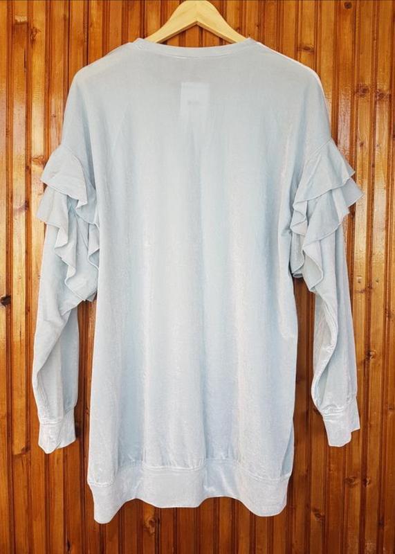 Длинная кофта, свитер из велюра от h&m с оборками - Фото 5