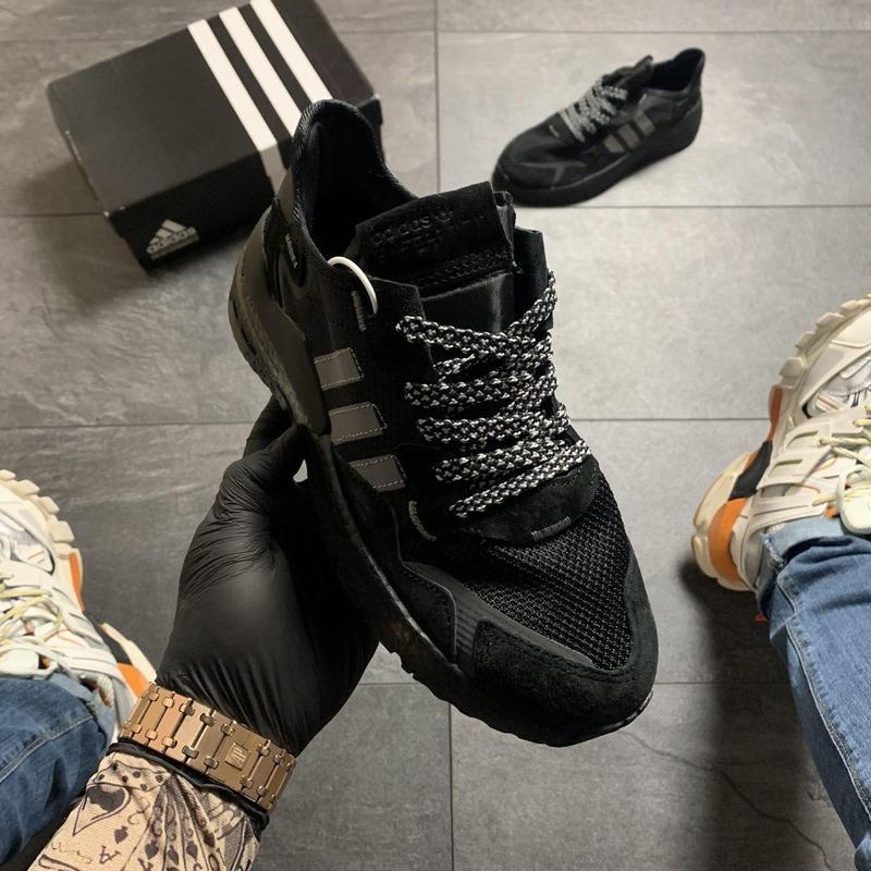 Adidas nite jogger black . - Фото 7