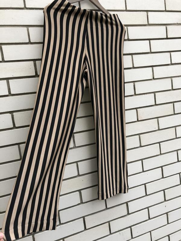 Полосатые широкие брюки кюлоты zara - Фото 5
