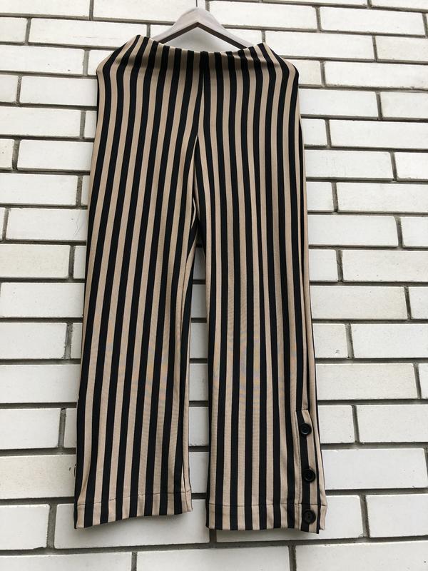 Полосатые широкие брюки кюлоты zara - Фото 6
