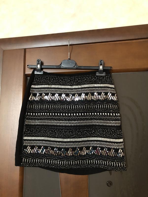 Чёрная шифоновая юбка с паетками от бренда h&m на наш 42-44. с...