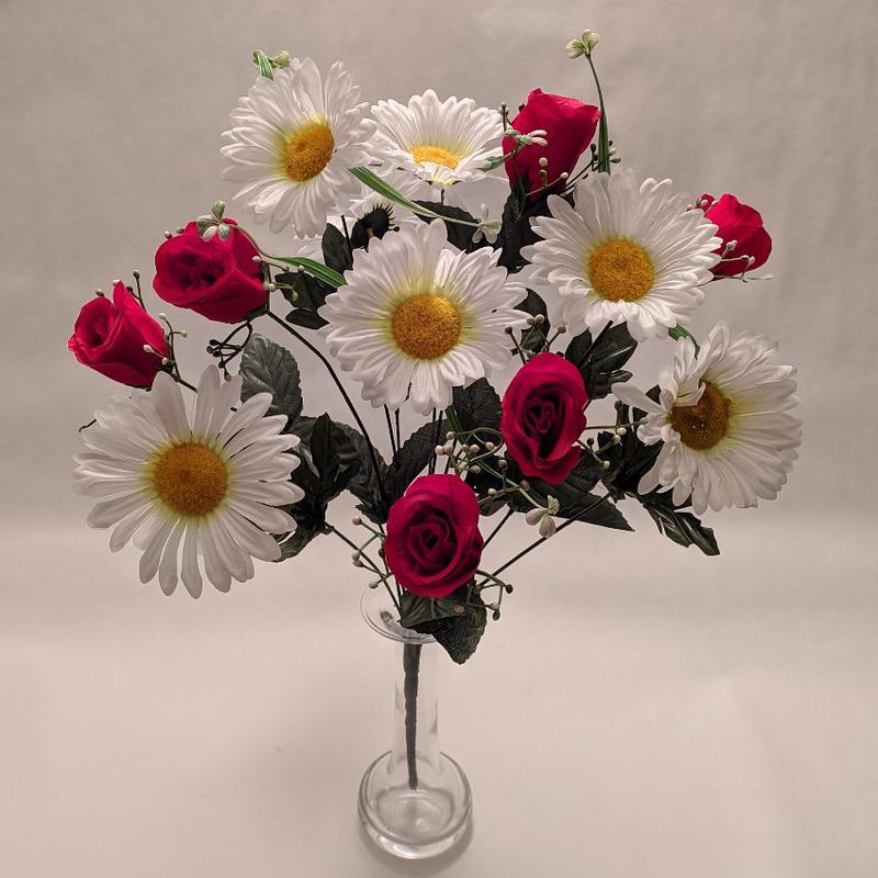 Искусственные цветы, букет роз и ромашек, 13 цветков, высота 53см