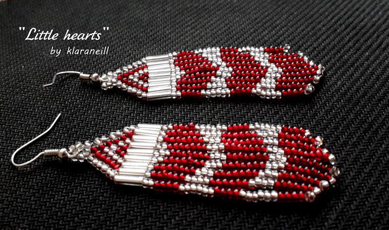 Небольшие аккуратные серьги ручной работы с сердечками - Фото 2