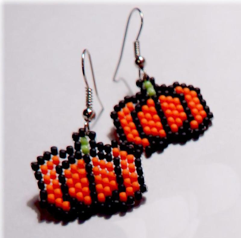 Серьги тыковки хэллоуин halloween аккуратные небольшие матовые... - Фото 2