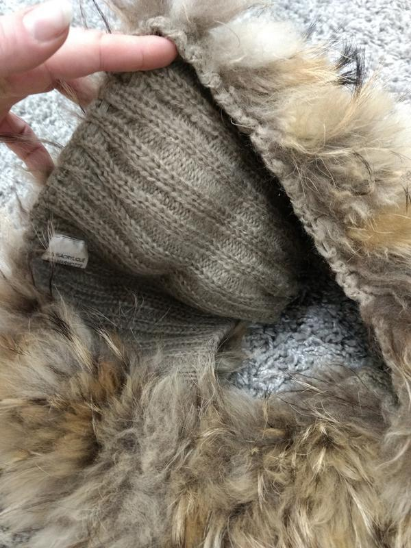 Широкий шарф воротник мех енота - Фото 5