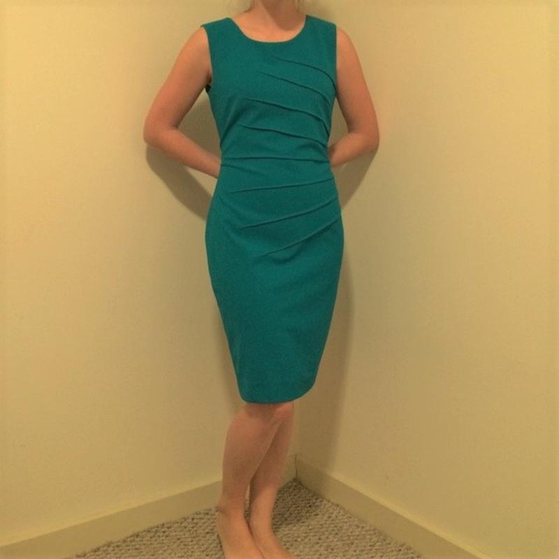"Платье футляр calvin klein темно-бирюзового цвета ""10p"" на 46-..."