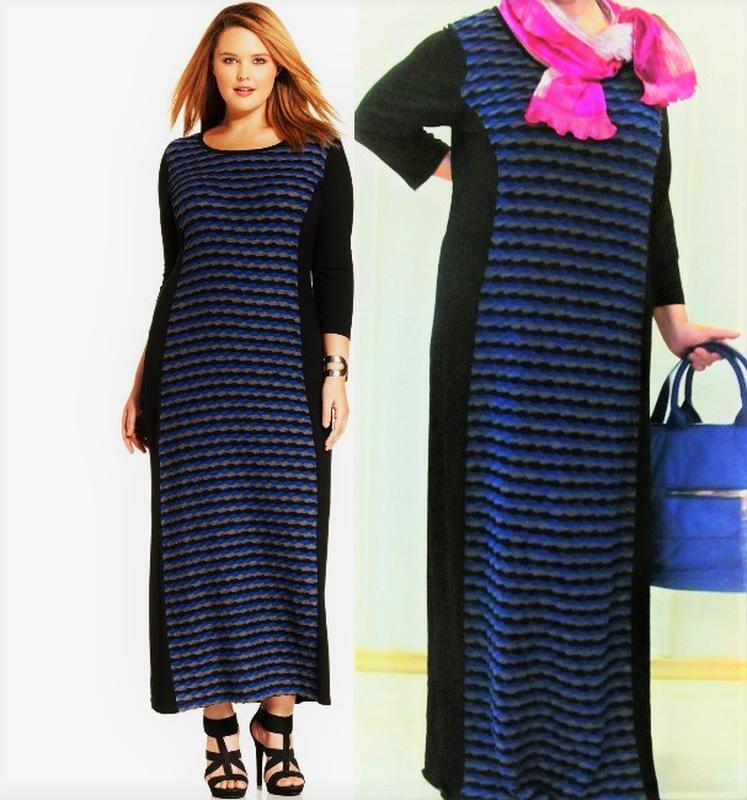 "Платье комбинированное оверсайз макси ""spense woman"" usa 1x (5..."