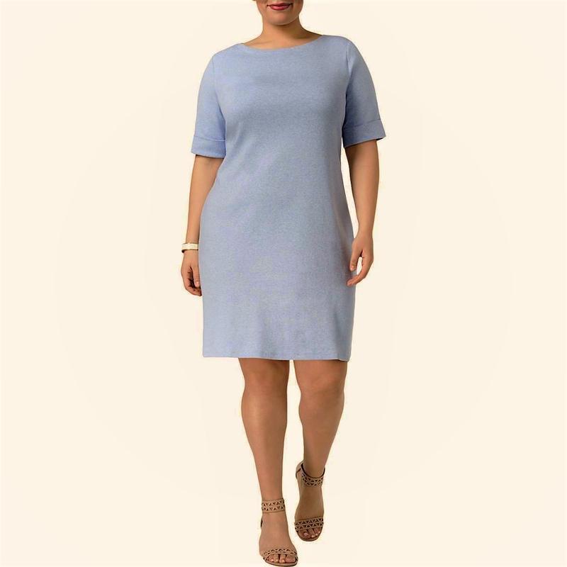 Платье футболка 100% cotton серо-голубого цвета с рукавами поч...