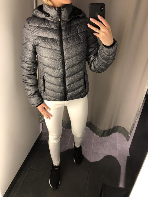 Демисезонная дутая куртка серая курточка на синтепоне. amisu. - Фото 3