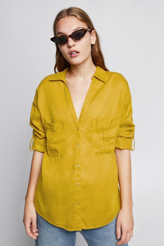 Zara джинсовая рубашка с v-образным вырезом - Фото 2