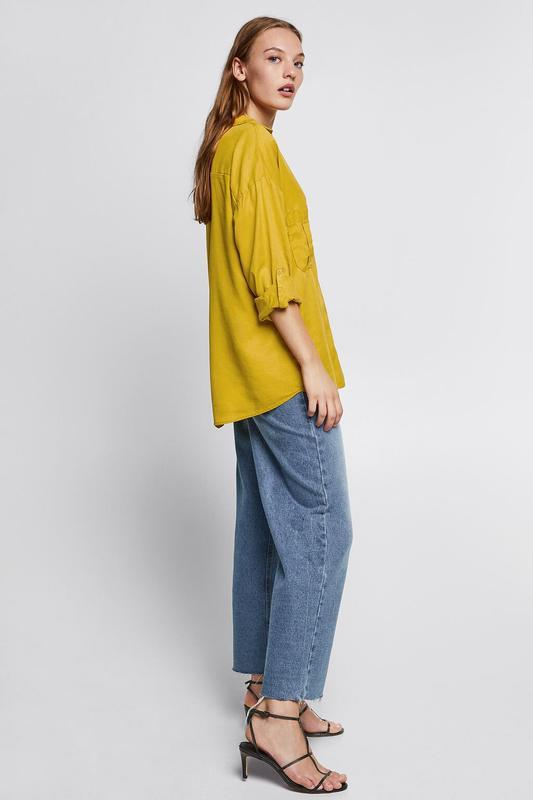 Zara джинсовая рубашка с v-образным вырезом - Фото 3