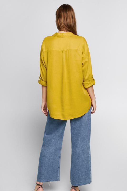 Zara джинсовая рубашка с v-образным вырезом - Фото 4