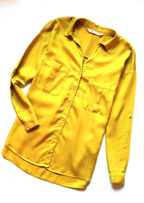 Zara джинсовая рубашка с v-образным вырезом - Фото 5