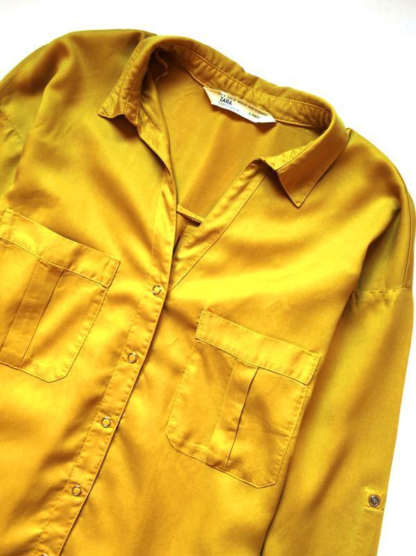 Zara джинсовая рубашка с v-образным вырезом - Фото 6