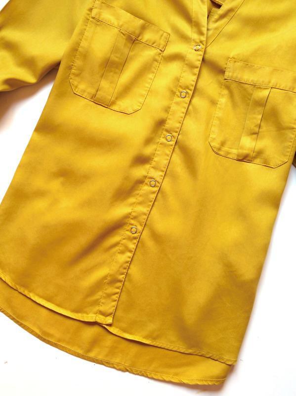 Zara джинсовая рубашка с v-образным вырезом - Фото 7
