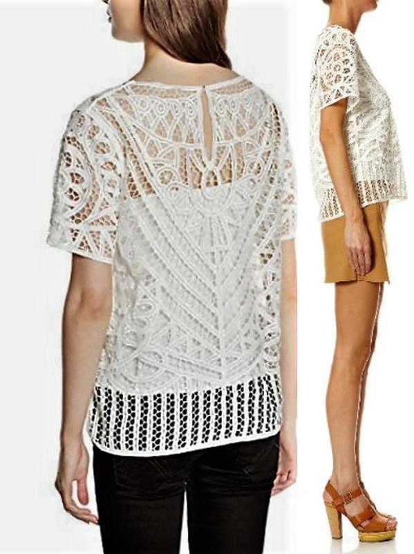 Кружевная блуза с майкой вместе,*suncoo*сша,с короткими рукава...