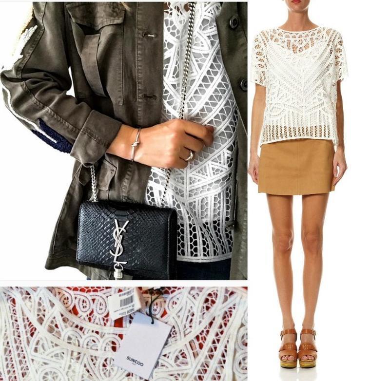 Кружевная блуза с майкой вместе,*suncoo*сша,с короткими рукава... - Фото 2