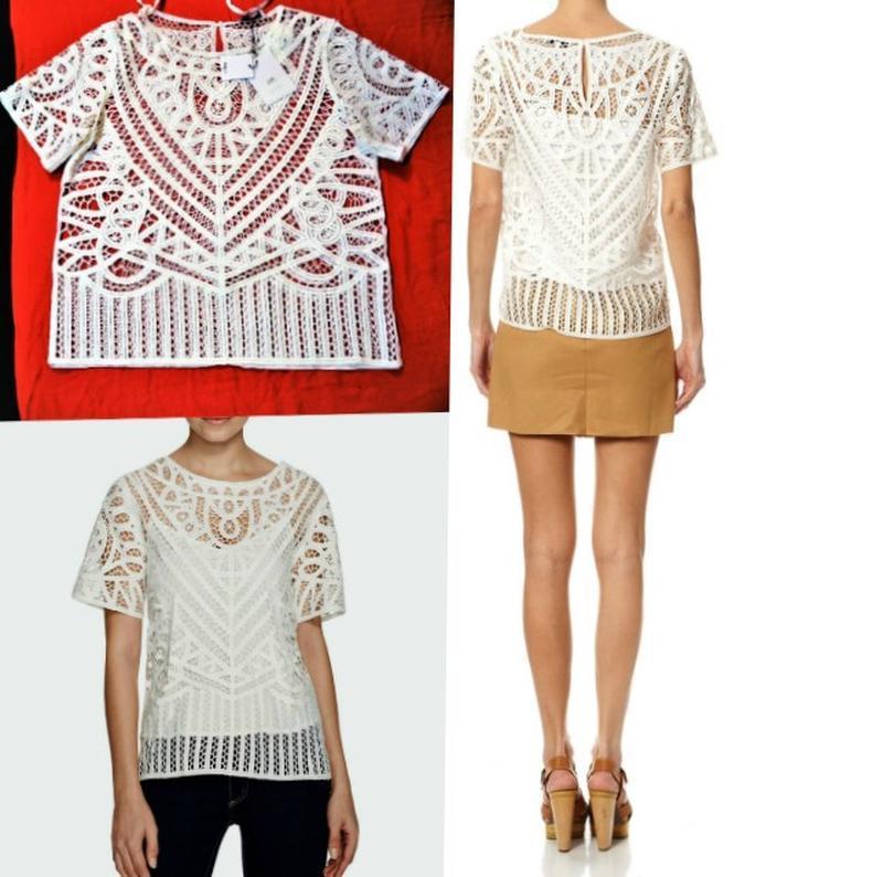 Кружевная блуза с майкой вместе,*suncoo*сша,с короткими рукава... - Фото 3