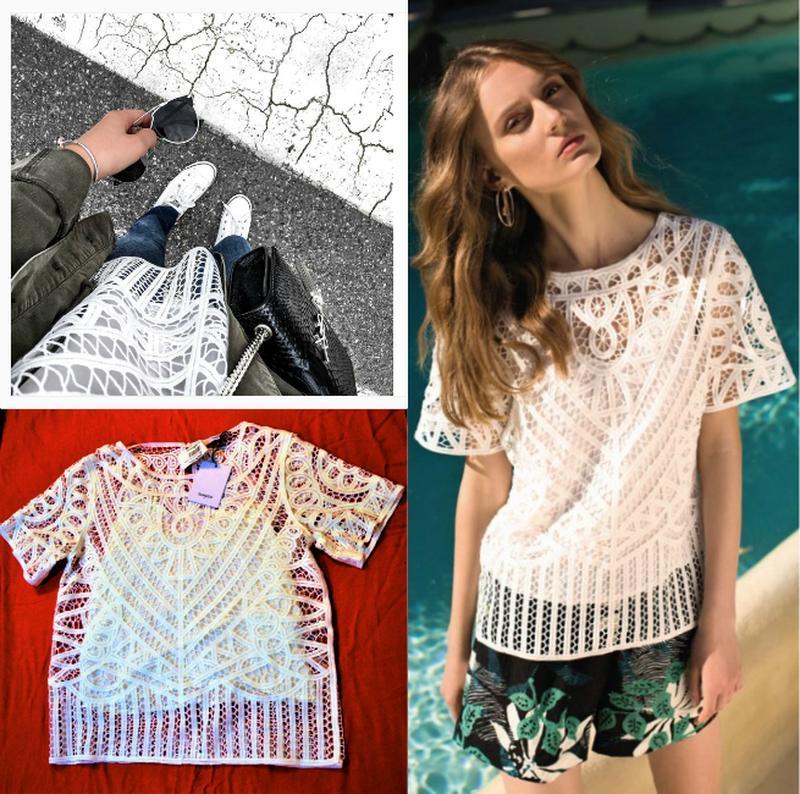 Кружевная блуза с майкой вместе,*suncoo*сша,с короткими рукава... - Фото 4