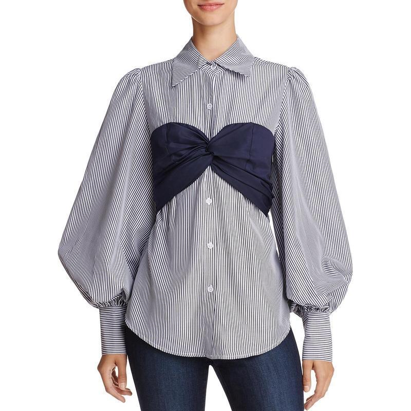 Шикарная рубашка блуза с топом бандо и широкими рукавами на вы...