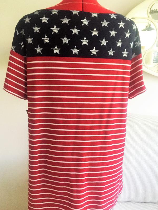 Футболка  топ  american flag с металлическими стразиками, бата... - Фото 4
