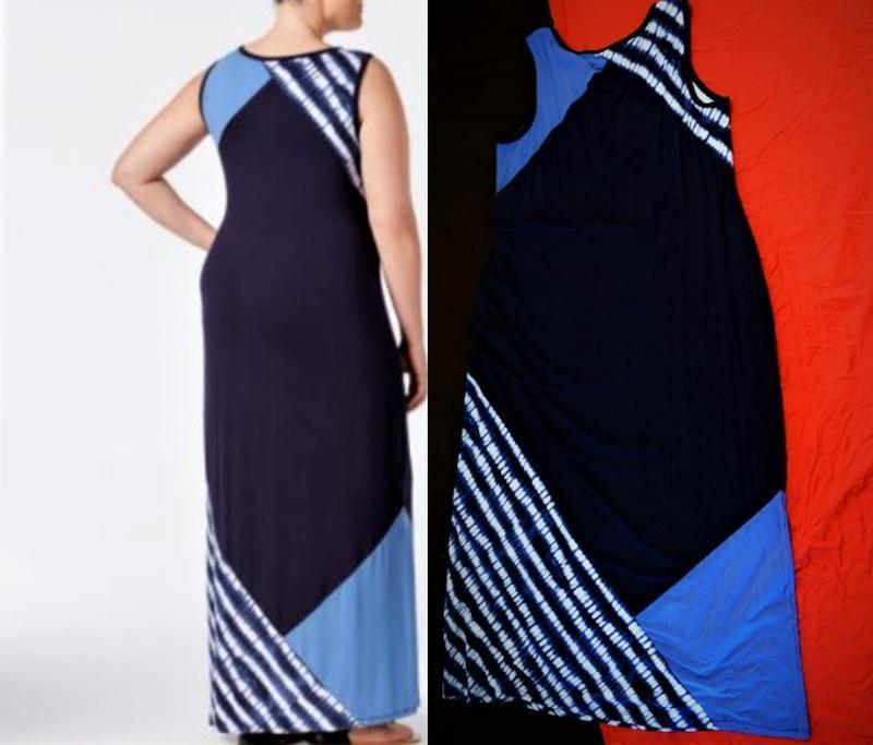 """Платье макси """"пэтчворк"""", без рукавов с круглым вырезом,  plus ... - Фото 4"""