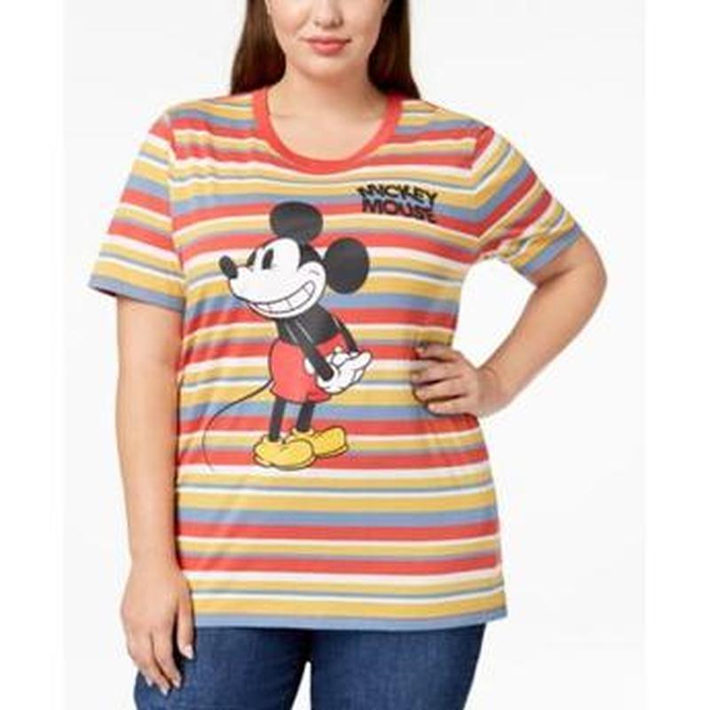 """Яркая футболка  в полоску с графикой """"mickey mouse""""  батал   p..."""