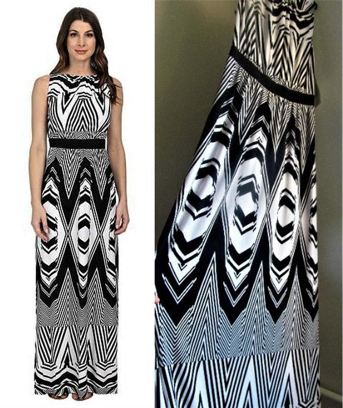 Брендовое платье b&w  макси с трансцендентальным принтом и кон...
