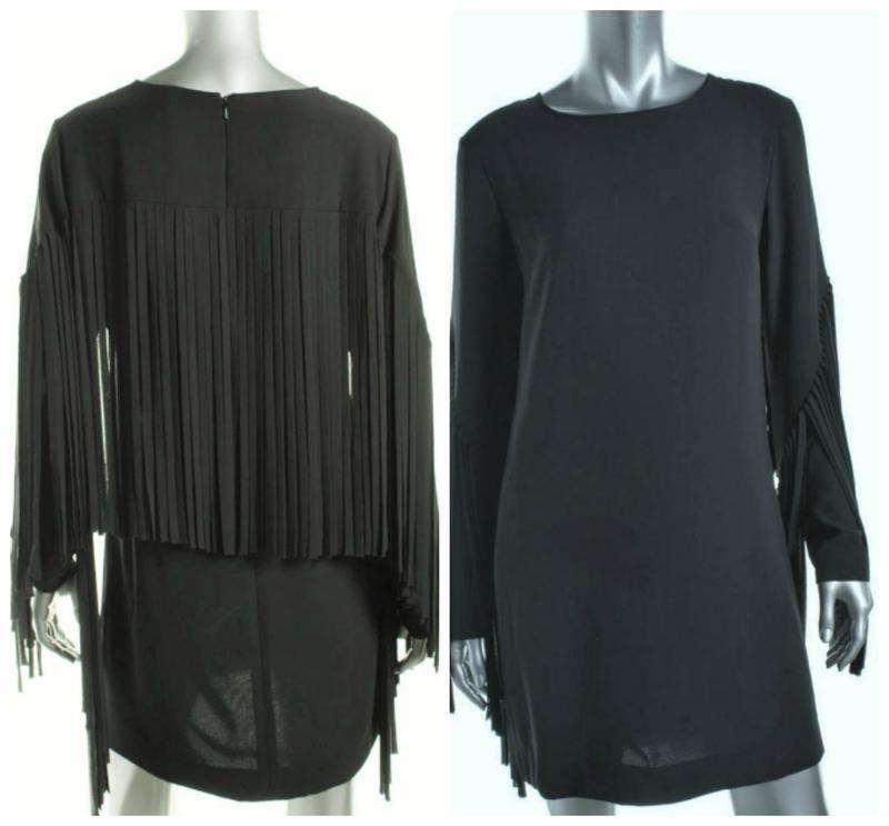 Черное платье shift с летящей бахромой по спинке и рукавам s-m - Фото 2
