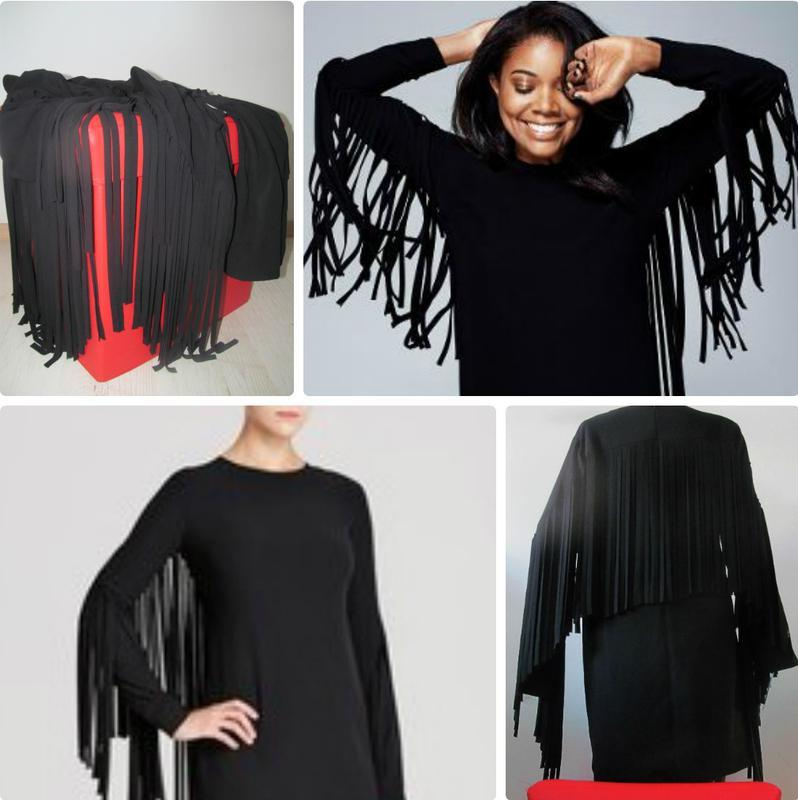 Черное платье shift с летящей бахромой по спинке и рукавам s-m - Фото 3