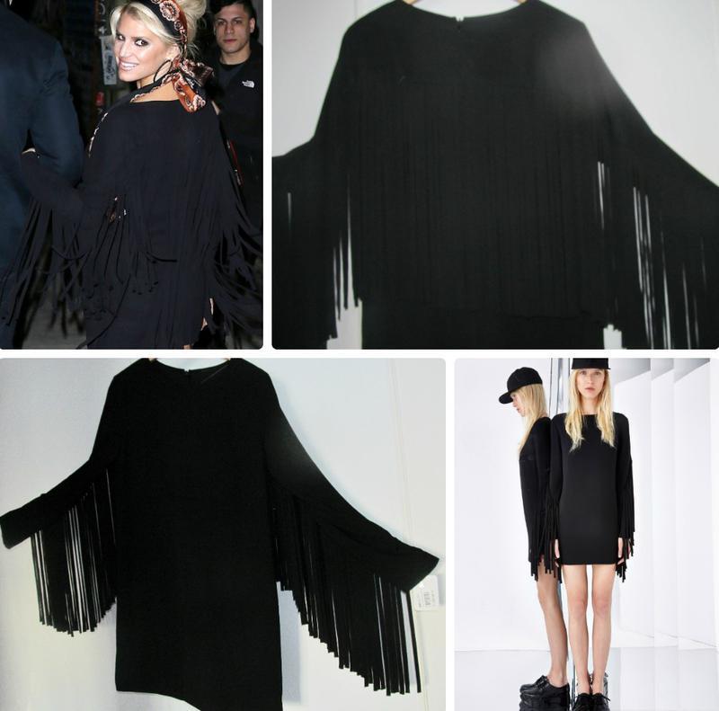 Черное платье shift с летящей бахромой по спинке и рукавам s-m - Фото 4