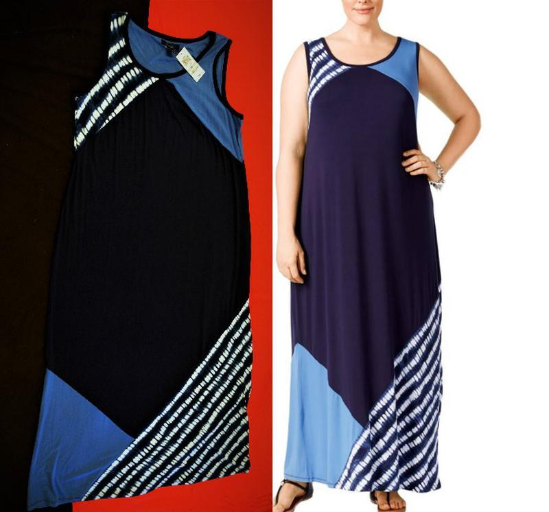 Платье комбинированное style & co макси длиной, plus 1х usa пр...