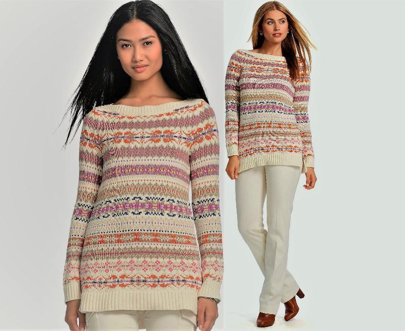 Длинный свитер с орнаментом, вырез лодочка  ralph lauren   l н...