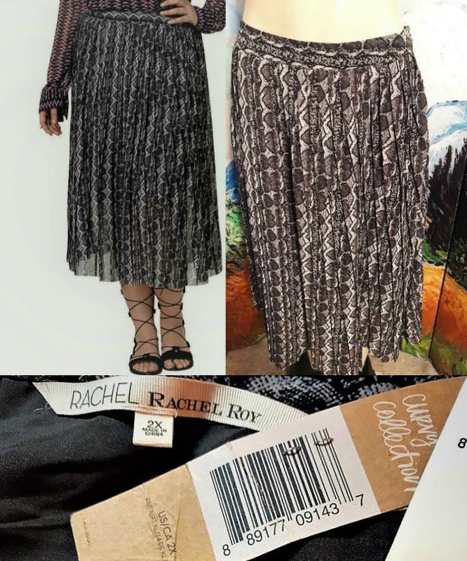 Шифоновая юбка плиссе батал миди а-силуэт*rachel roy* plus 2x ... - Фото 3