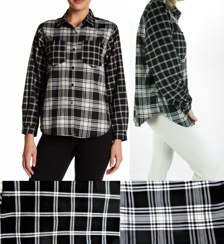 Рубашка  в клетку  b&w в мужском стиле, скомбинирована из 2-х ...