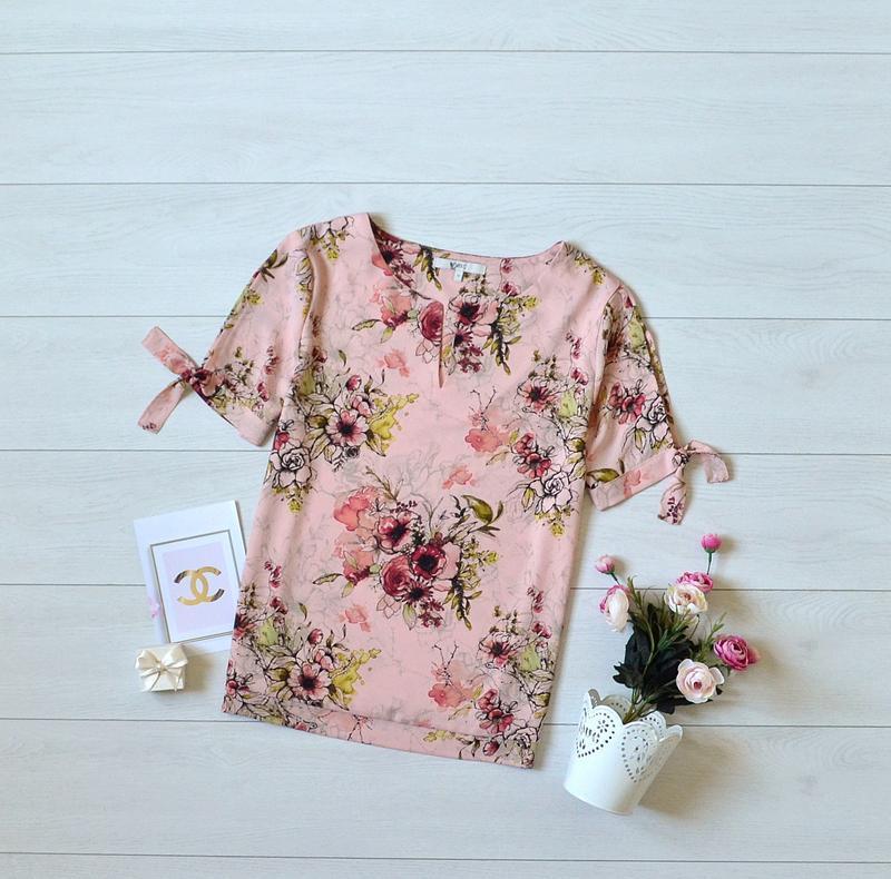 Красива пудрова блуза в квіти next