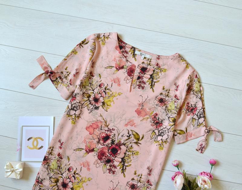 Красива пудрова блуза в квіти next - Фото 2
