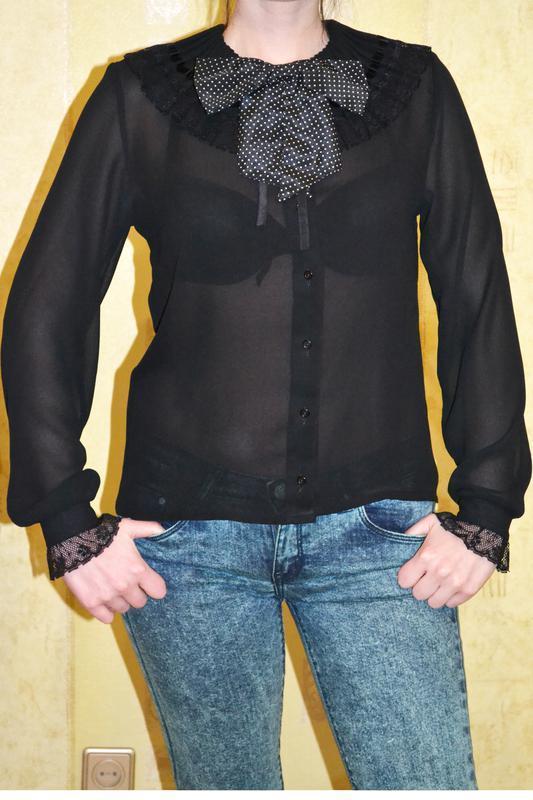 Красивая роскошная черная прозрачная рубашка блузка с бантом d... - Фото 2