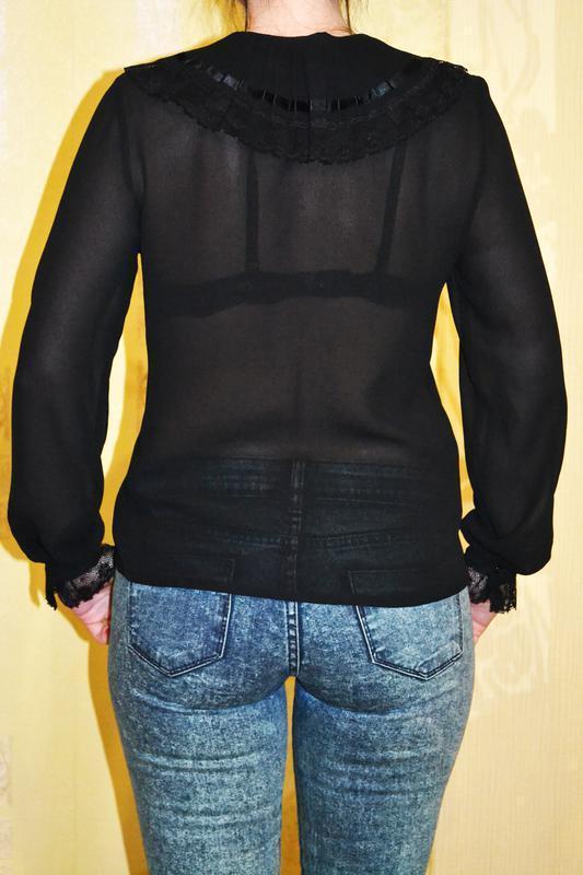 Красивая роскошная черная прозрачная рубашка блузка с бантом d... - Фото 3
