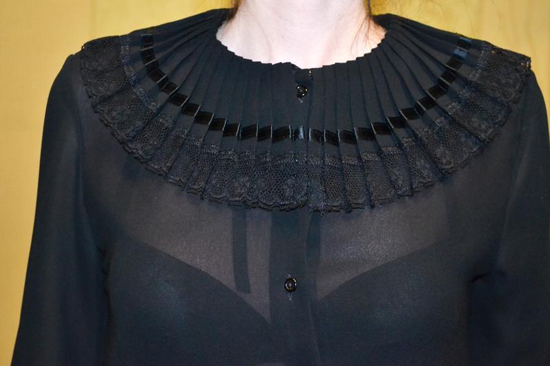 Красивая роскошная черная прозрачная рубашка блузка с бантом d... - Фото 4