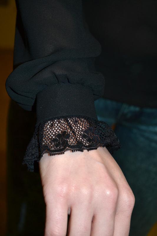 Красивая роскошная черная прозрачная рубашка блузка с бантом d... - Фото 5
