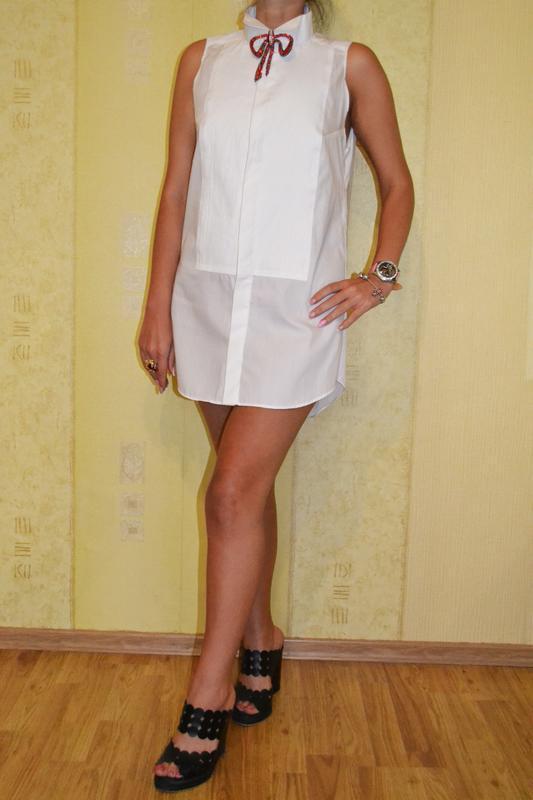 Белое платье – туника в форме рубашки gucci