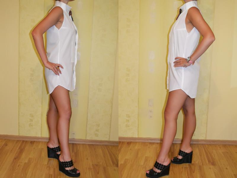 Белое платье – туника в форме рубашки gucci - Фото 3