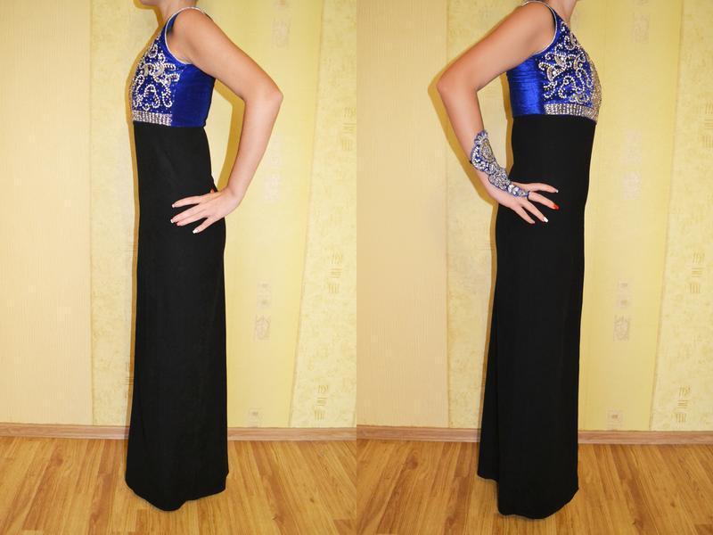 Роскошное вечернее, нарядное платье на новый год с вышивкой - Фото 3