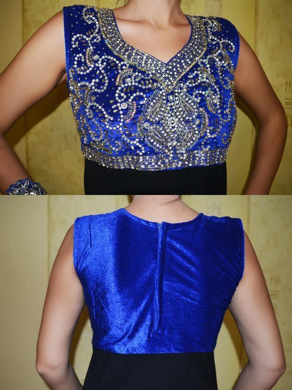 Роскошное вечернее, нарядное платье на новый год с вышивкой - Фото 4