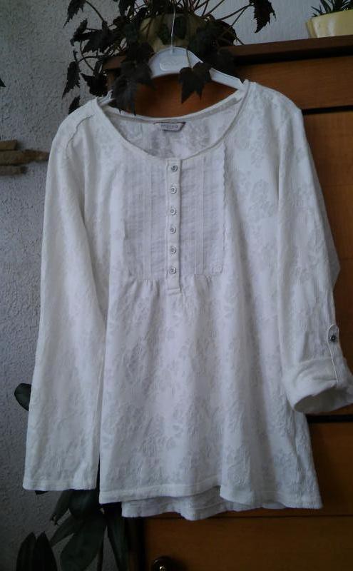 Трикотажная блуза-футболка молочного цвета из коллекции indigo - Фото 3