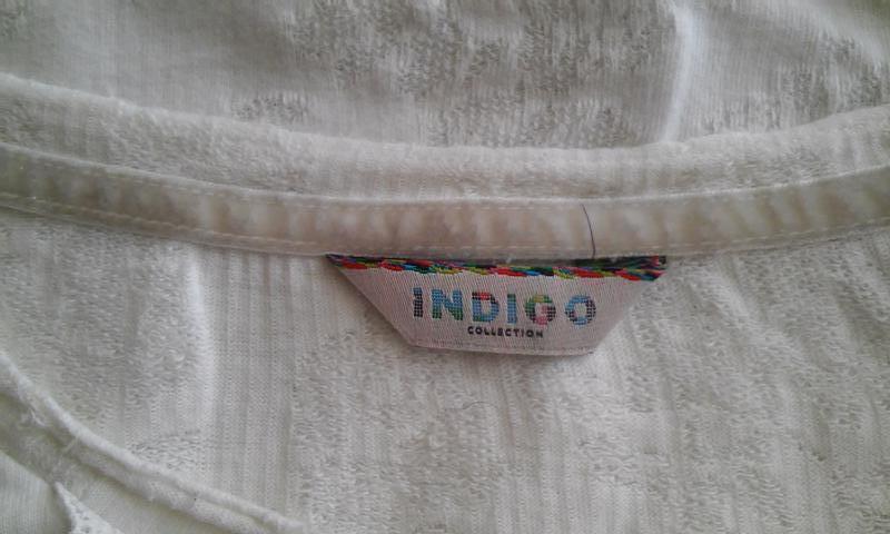 Трикотажная блуза-футболка молочного цвета из коллекции indigo - Фото 4