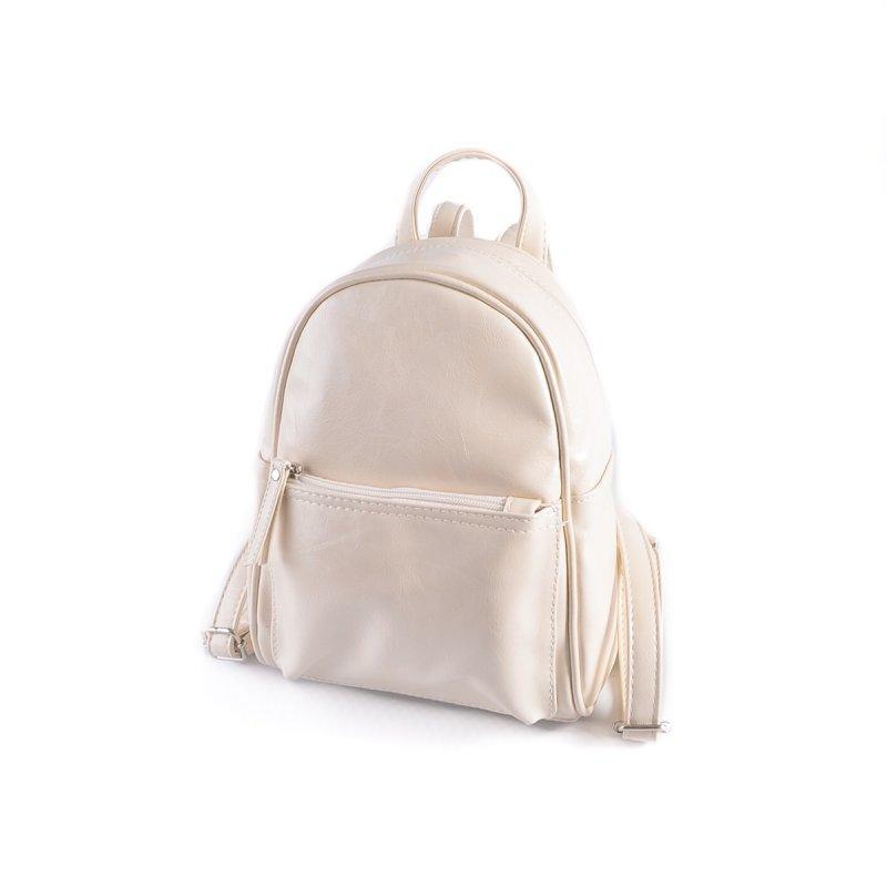 Маленький женский рюкзак из эко-кожи, мини рюкзак молочный - Фото 2
